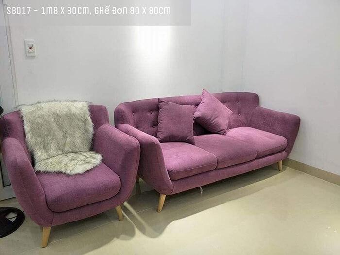 Ghế sofa băng màu tím SB28