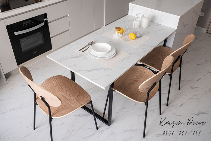 Bộ bàn ăn mặt đá hiện đại