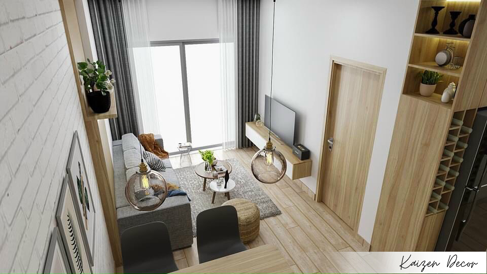 Thiết kế thi công nội thất chung cư 1 phòng ngủ topaz home 2