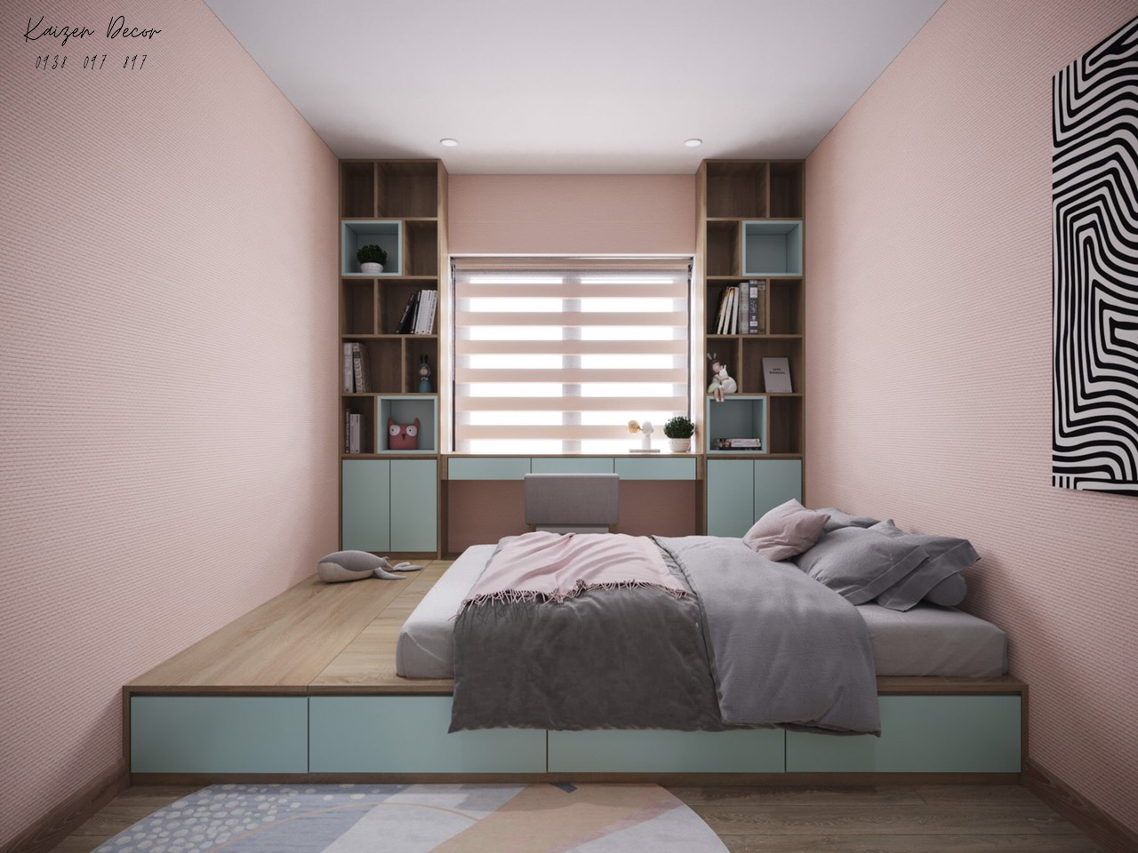 Giường ngủ bục hiện đại cho chung cư