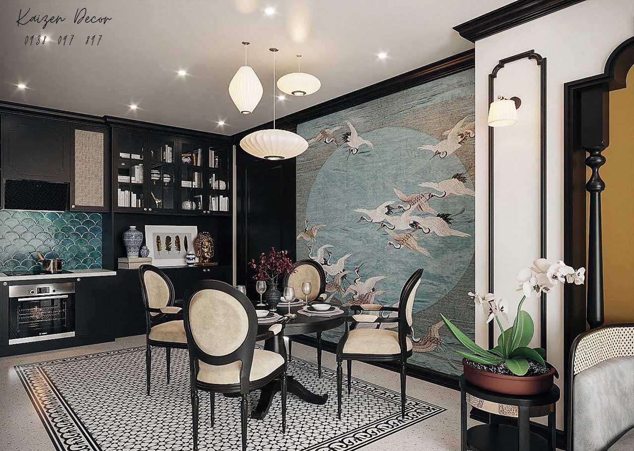 Thiết kế thi công nội thất nhà phố phong cách Indochine tại Tp.HCM uy tín