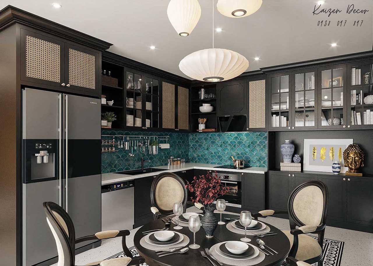 Thiết kế thi công nội thất nhà phố phong cách Indochine tại Tp.HCM đẹp