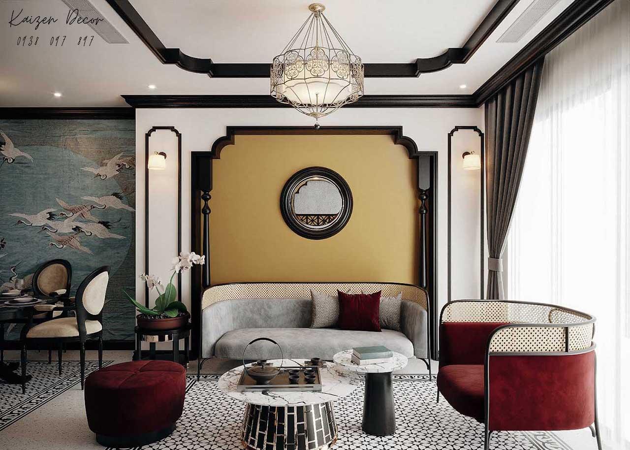 Thiết kế thi công nội thất nhà phố phong cách Indochine tại Tp.HCM